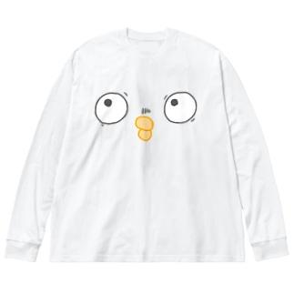 目を合わせないとり Big silhouette long sleeve T-shirts