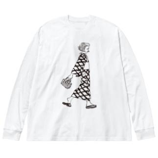 浴衣女子 Big silhouette long sleeve T-shirts
