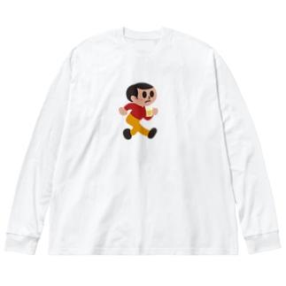 呑み過ぎ坊や Big silhouette long sleeve T-shirts