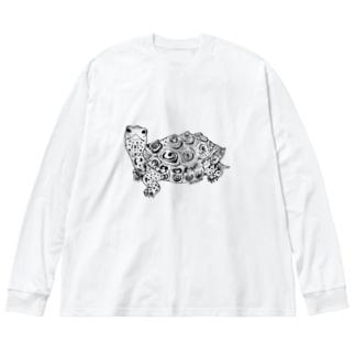 ダイヤモンドバックテラピン 黒線  Big silhouette long sleeve T-shirts