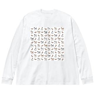 シベリアンハスキーとソリ Big silhouette long sleeve T-shirts