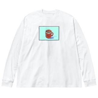 ドーナツ屋さんのコーヒー Big silhouette long sleeve T-shirts