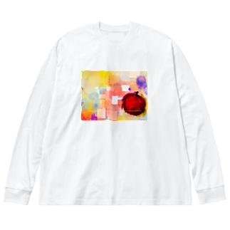 アップル Big silhouette long sleeve T-shirts
