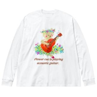 アコースティックギターを弾くねこ Big silhouette long sleeve T-shirts