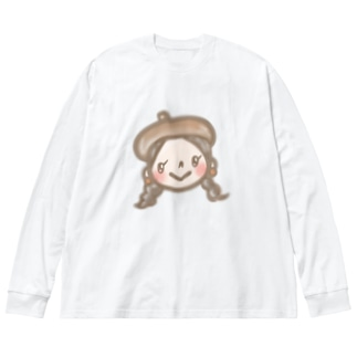 ほんわか万枚ちゃん Big silhouette long sleeve T-shirts