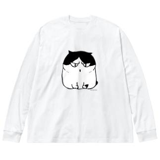 ふしぎ猫 コムちん Big silhouette long sleeve T-shirts