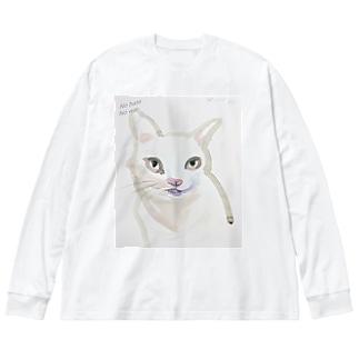 nohatenowar猫 Big silhouette long sleeve T-shirts