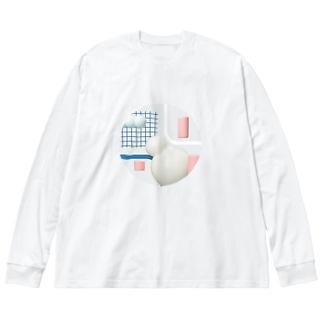 しろだるま Big silhouette long sleeve T-shirts