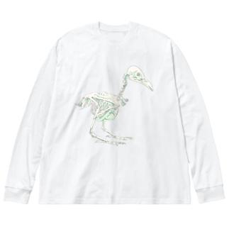 ハシボソガラス(骨) Big silhouette long sleeve T-shirts