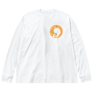 無い家紋-ナポリタン- Big silhouette long sleeve T-shirts