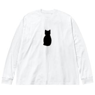 くろねこちゃん Big silhouette long sleeve T-shirts
