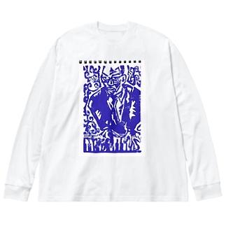 ピアノとピアニスト Big silhouette long sleeve T-shirts