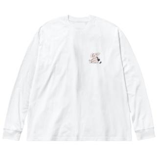 すさみうさぎワンポイント Big silhouette long sleeve T-shirts