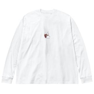 しあわせのうさ Big silhouette long sleeve T-shirts