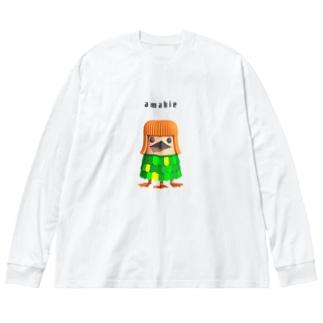 アマビエ3939 Big silhouette long sleeve T-shirts