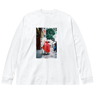 share red with Big silhouette long sleeve T-shirts