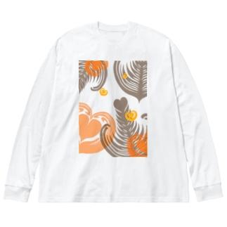 【ラテアート】レイヤーラテアート/オレンジブラウン Big silhouette long sleeve T-shirts