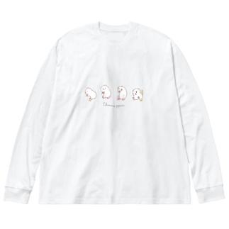ポップコーンジャンプモルモットver.2 Big silhouette long sleeve T-shirts