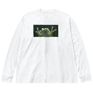 ガラス向こうにカエル Big silhouette long sleeve T-shirts
