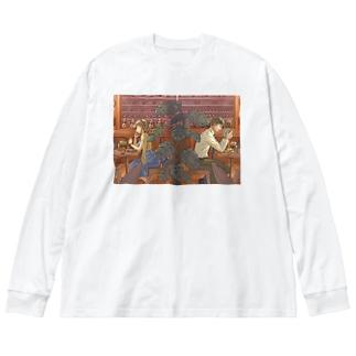 カフェ Big silhouette long sleeve T-shirts