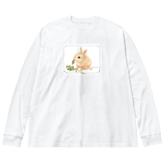 kitaooji shop SUZURI店のLapin angelique Big silhouette long sleeve T-shirts