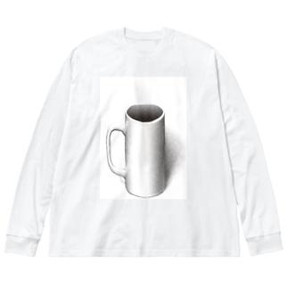 マグカップついてるよ Big silhouette long sleeve T-shirts