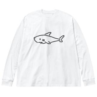 わりと単純なサメ 薄色用 Big silhouette long sleeve T-shirts