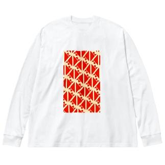 サーヴィエ行進曲 朱 Big silhouette long sleeve T-shirts