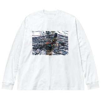 タイの引き留め具 Big silhouette long sleeve T-shirts