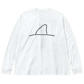 サメの背びれ Big silhouette long sleeve T-shirts