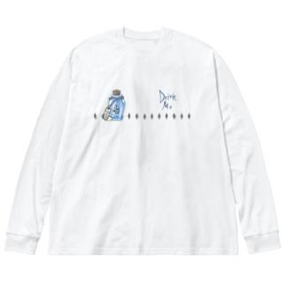 DrinkMeスカル1 Big silhouette long sleeve T-shirts