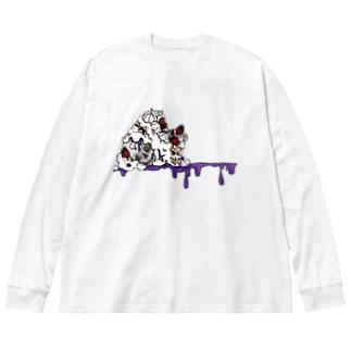 ショートケーキ髑髏添え Big silhouette long sleeve T-shirts