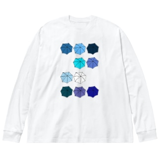 傘の花 あお Big silhouette long sleeve T-shirts