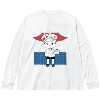銭湯・すっきり Big silhouette long sleeve T-shirts
