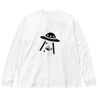 UFOにさらわれるおにぎり Big silhouette long sleeve T-shirts