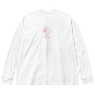 OSHIYOMANのモーツァルト 赤 Mozart Big silhouette long sleeve T-shirts
