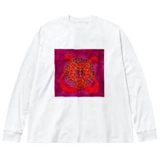 フトマニ・ウ(ヲシテ文字) Big silhouette long sleeve T-shirts