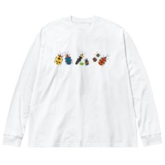 カラフルポップなハムシ Big silhouette long sleeve T-shirts