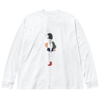 エビフライもってる女の子ver.つー Big silhouette long sleeve T-shirts