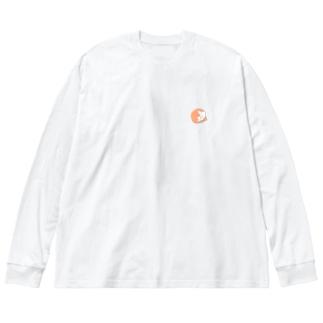 まんまる茶白ねこ Big silhouette long sleeve T-shirts