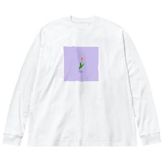浮遊チューリップ Big silhouette long sleeve T-shirts