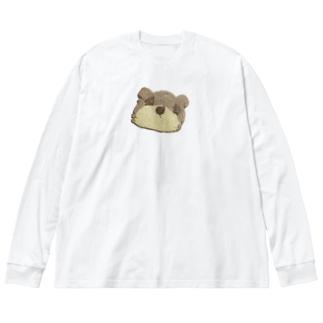 クマさんクッキー Big silhouette long sleeve T-shirts