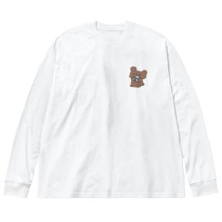 サカナ食ってるクマ Big silhouette long sleeve T-shirts