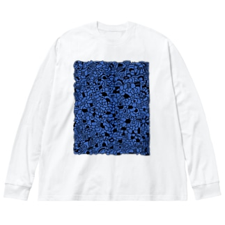 cells よるのくらやみ Big silhouette long sleeve T-shirts