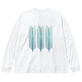 青松の葉 Big silhouette long sleeve T-shirts