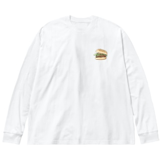はんばーがー Big silhouette long sleeve T-shirts