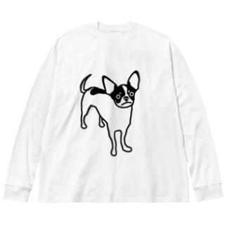 牛柄チワワのでんすけ Big silhouette long sleeve T-shirts