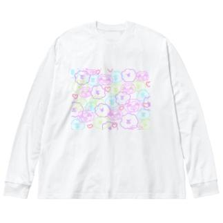 落書き風#まいにちナマケモノ-総柄 Big silhouette long sleeve T-shirts