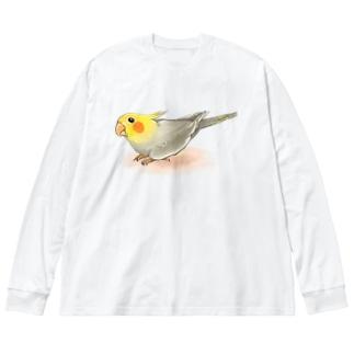 オカメインコ レキ【まめるりはことり】 Big silhouette long sleeve T-shirts