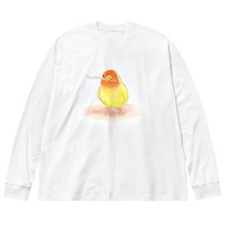 コザクラインコ レイ【まめるりはことり】 Big silhouette long sleeve T-shirts